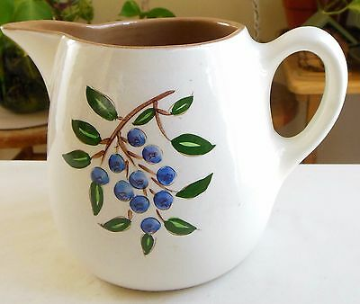 Vintage Stangl Pottery Pitcher 20 Ounce Hand-Painted Blueberry AS IS