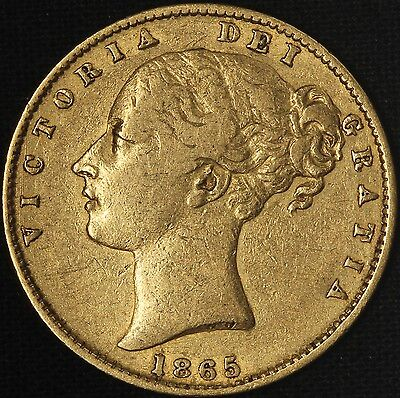 1865 Great Britain Young Queen Victoria Gold Sovereign .2355 AGW-Free Ship USA