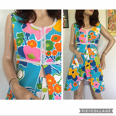 Vintage 50s 60s 2 Piece Beach Dress & Hot Pants Outfit Bathing Shorts Swimsuit