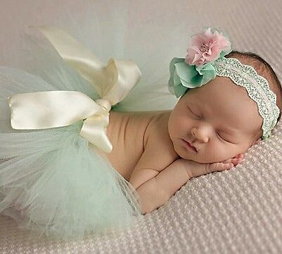 Newborn Baby Girls outfit Tutu Skirt Headband Dress Photo shoot baby shower gift
