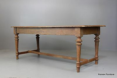 Large Antique Rustic Well Worn Pine Farmhouse Kitchen Dining Table