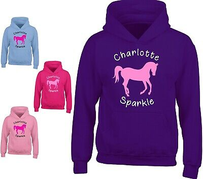 Personalised Horse Riding Childrens Hoody Girls Hoodies Kids Tops Gift All Sizes