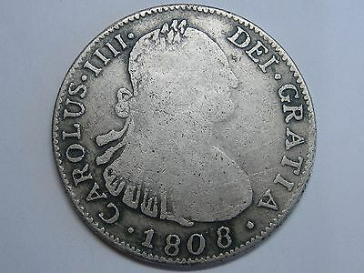 1808 Santiago 4 Real Charles Iv Chile Silver Button Century Xix Spain Spanish