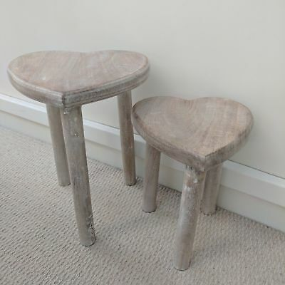 Two Wooden Heart Stools Tables Shabby Chic Rustic Style Nest Side Occasional