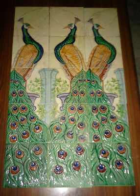Rare Antique or Vintage Majolica 15 Tile Peacock Set Japan
