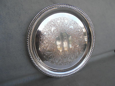 "Vintage Silverplated 12"" Round Wm Rogers 2671 Serving Tray"