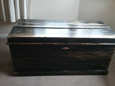 Large Antique Victorian Pine Blanket Box