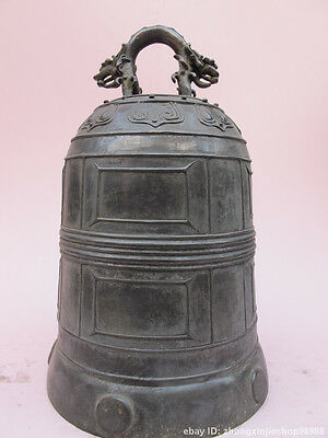 China Tibet Buddhism old Pure Bronze Copper Hanshan temple Dragon Bell With