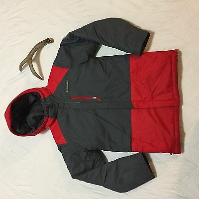 Columbia Kids Red Boys Gray Winter Coat Size Large 14/16 Hooded Jacket