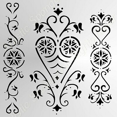 SET OF HEARTS BORDERS Small Sizes A5 A4 A3 Reusable Stencil Shabby Chic /'Deco3/'