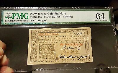 New Jersey Colonial Currency Note John Hart Signer Of Declaration Pmg 64 Choice