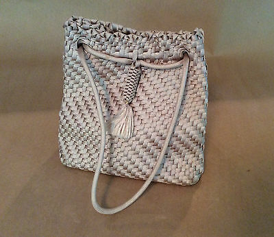 Vintage 1960's Woven Cord Drawstring Bag Purse