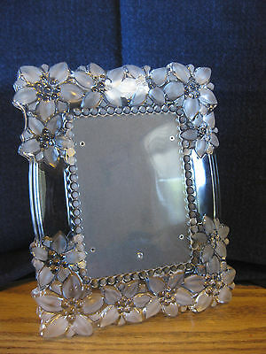 "Mikasa Crystal Picture Frame ""Floral Bouquet""  5 x 7 Germany"