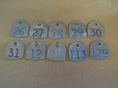 Brass Numbered Cattle Dairy Tags Steampunk Jewelry Original Cattle Farm