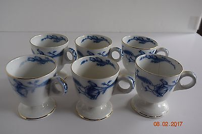 Eversley Flow Blue By Burgess & Leigh Chocolate / Zabaglione Cups SET OF 6