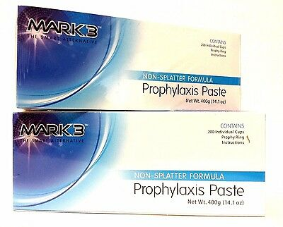 2x Bulk Mark3 Prophy Paste Non-Spaltter Coarse Assorted Total of 400Cups