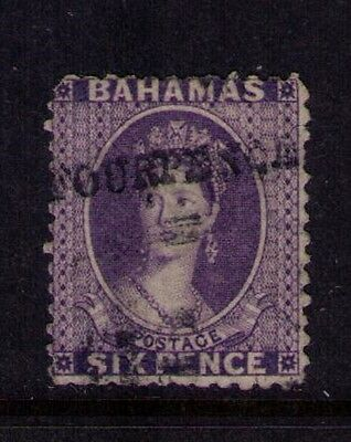 Bahamas Stamp, QV, 6p Violet  SC# 26 F Used Cat.$500