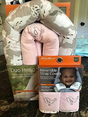 BNIP Eddie Bauer Pink Girls Infant Car Seat Head Support And Strap Covers