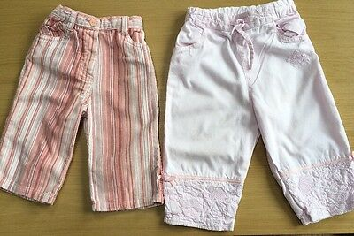 2 Pairs Of Girls Pants 6-9 , 9-12 Months