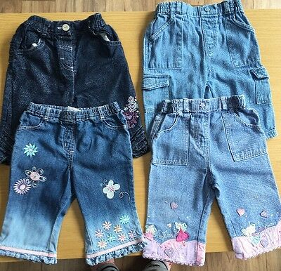 4 Pairs Girls Jeans 3-6 Months