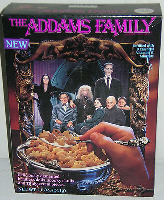 UNOPENED 1991 ADDAMS FAMILY Cereal Box SALESMAN SAMPLE Very Unusual