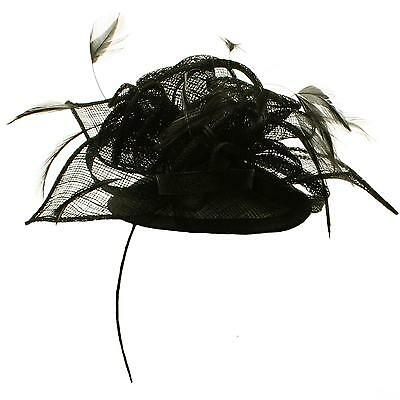 Feathers Head Piece Chin Strap Fascinator Millinery Cocktail Mini Hat Black