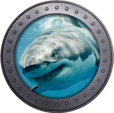 3D Porthole Window Great White Shark Sea Sticker Wall Poster Vinyl GA25-61