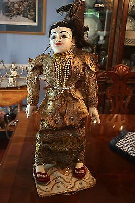 Vintage Burmese Wooden Marionette, 26 Inches Tall