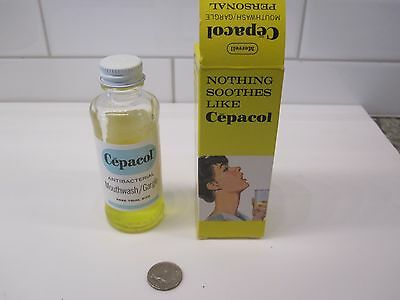 Vintage Cepacol Trial Size Bottle w/Orginal Box-Great Graphics-EX/NM