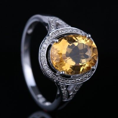 10K White Gold Citrine/Blue Topaz Natural Diamonds Split Shank Engagement Rings