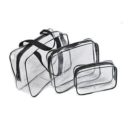 PVC Tote Bag Clear Toiletry Bag Set 3 in 1 Makeup Wash Bag Set for Beach EB5