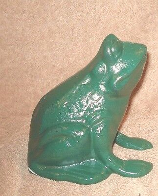 Cast Iron Sitting  Frog Doorstop Door Stop Statue Garden Green Finish 5'' X 5''