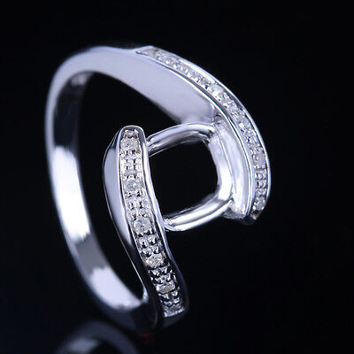 Fine Jewellery 7.5-8mm Round Natural Diamonds Semi Mount 10K White Gold Rings