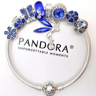 Authentic Pandora Silver Bangle Charm Bracelet With European Charms Blue Love.