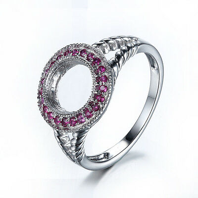 Amazing 10K White Gold Pave Set Semi Mount 7.5mm Round Rubies Wedding Fine Rings