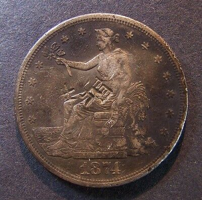 1874-S Trade Dollar Old US Silver Dollar Fast Free Shipping