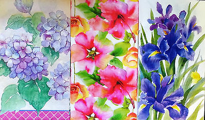 Set of Three (3) Floral Hostess Napkins for Decoupage and Paper Crafts