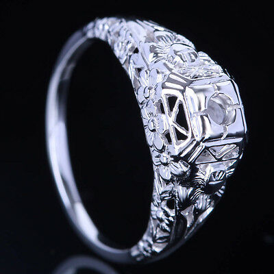 Carved Flowers 14K White Gold 3mm Round AAA Graded Cubic Zirconia Wedding Ring