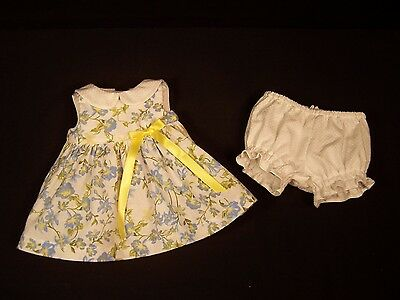 "Doll Clothes for 16"" Tiny Tears Dress Panties Handmade Floral Blue Yellow"
