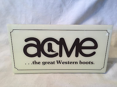 Vintage ACME BOOTS Plastic Store Display Sign WESTERN COWBOY leather Mancave