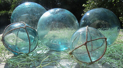 "Japanese Blown Glass FLOATS (5) WATER INSIDE 4"", 3.5""(2), 2""(2) WP 23 Net Vntg!"