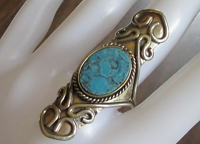 TURQUOISE COCKTAIL finger ring silver tone adjustable band SOUTHWEST western