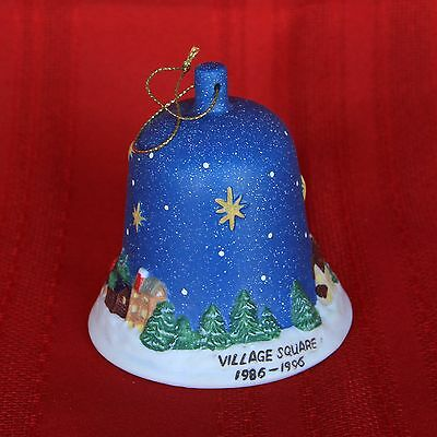 Porcelain Christmas Bell Ornament Village Square 1986 – 1996 MINT Condition