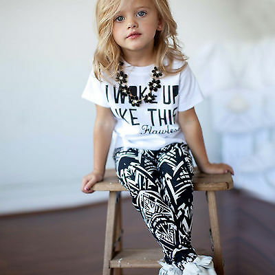 2pcs Toddler Baby Kids Girls T Shirt Tops+Long Pants Summer Outfits Set Clothes
