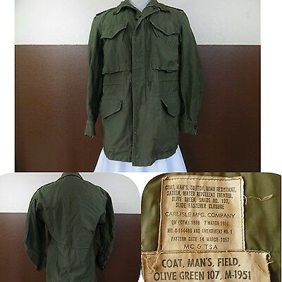VTG 1950s M-1951 MILITARY MANS FIELD COAT Olive Green107 Sateen Wind Resistant S