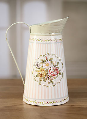 Tin Jug Floral Home Decor with Handle Provincial Style 24cms BRAND NEW