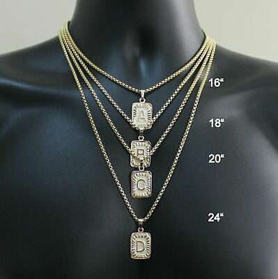 Gold Plated Box Chain Initial A-Z Letter Pendant Necklace Link For Womens Mens
