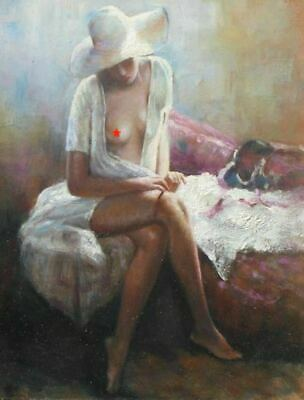 Original Nude Pin Up Oil Painting Of Lovely Young Woman Illustration Art!