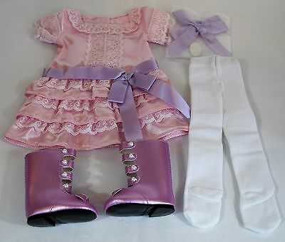 Samanthas Frilly Frock American Girl Doll Original Dress Tights Boots Clothes