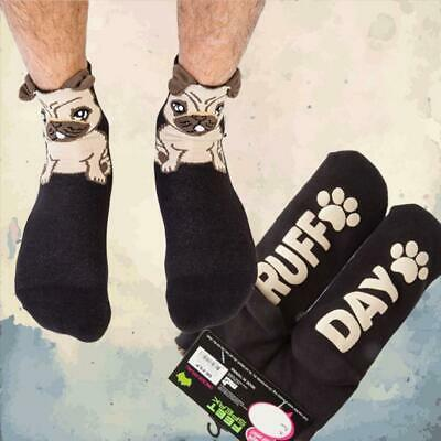 """Silly Soles """"Ruff Day"""" Pug Socks 
